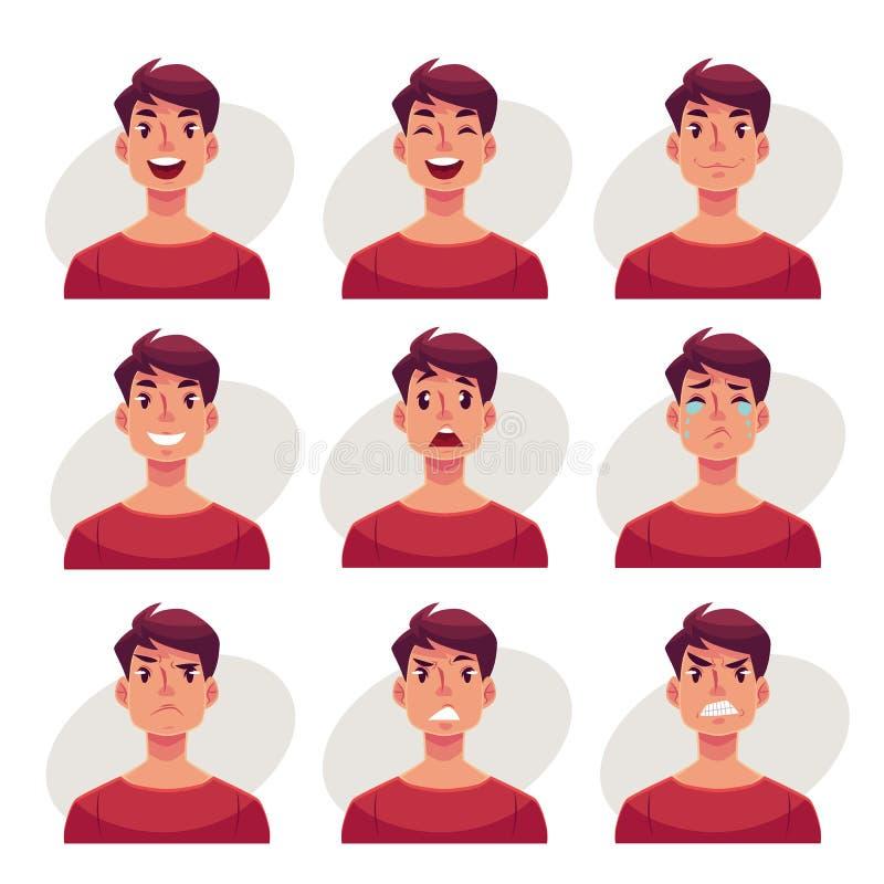 Комплект воплощений выражения стороны молодого человека иллюстрация вектора