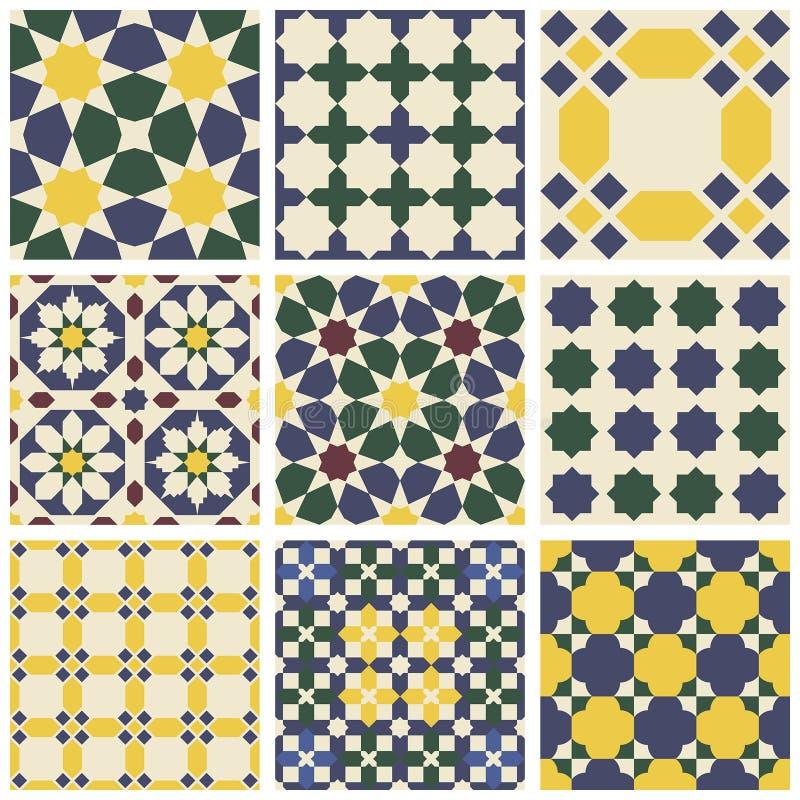 Комплект 9 восточных исламских мавританских безшовных картин иллюстрация вектора