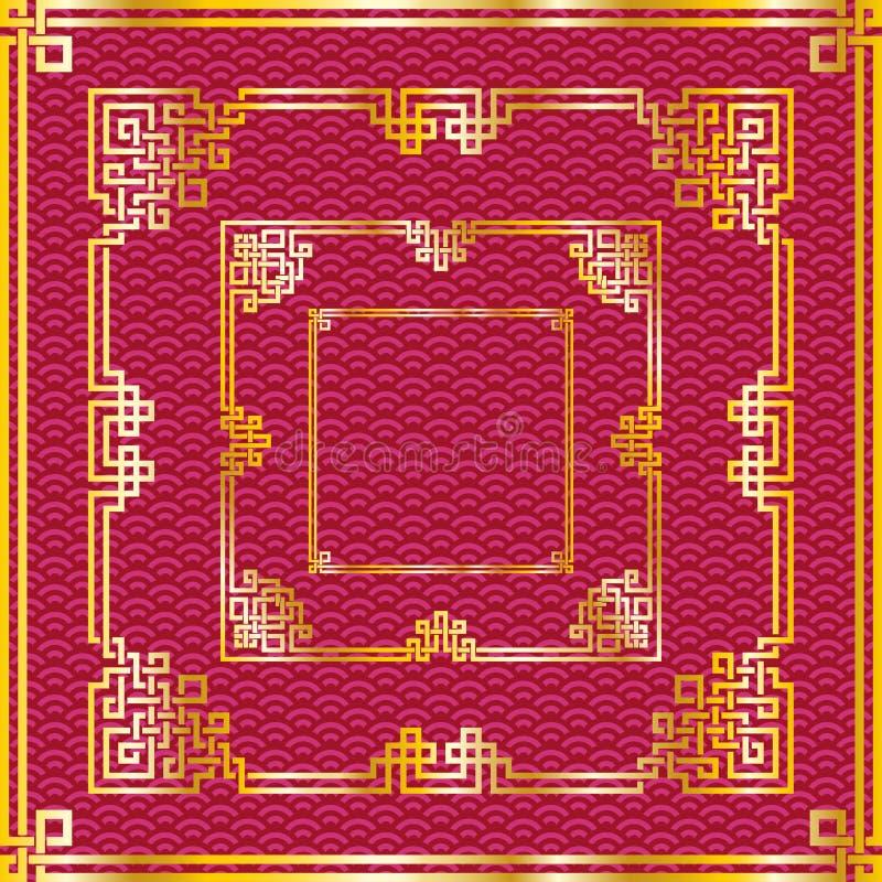 Комплект восточных китайских золотых квадратных рамок на задней части красного цвета картины бесплатная иллюстрация