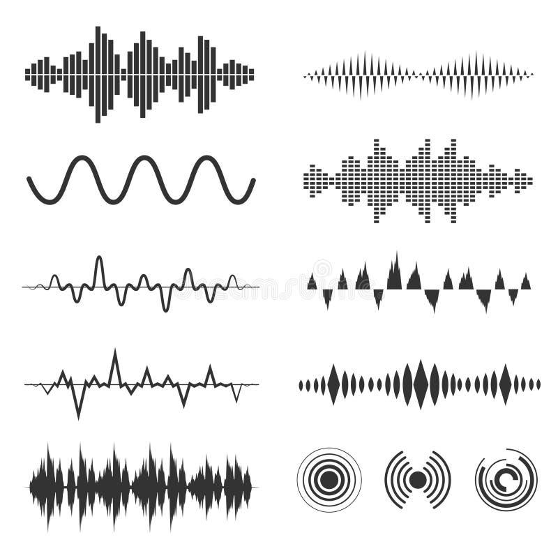 Комплект волны сигнала Аналоговые сигналы вектора и цифровые формы звуковых войн иллюстрация штока