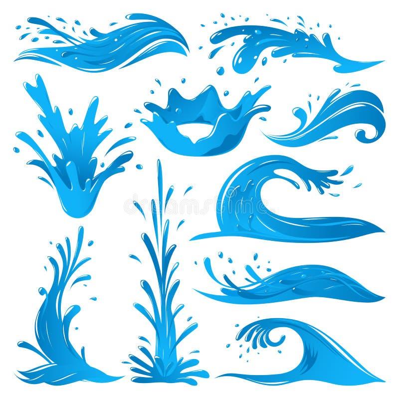 Комплект воды брызгает иллюстрацию вектора выключателя искр пульсации волны изолированную twirl голубую иллюстрация штока