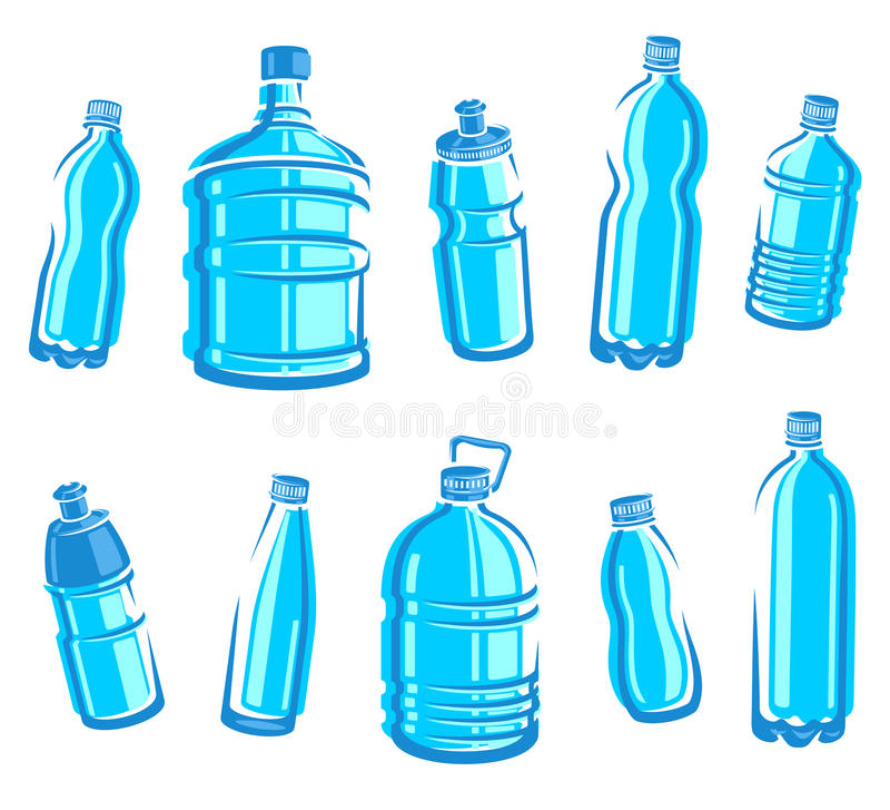 Комплект воды бутылок. Вектор бесплатная иллюстрация