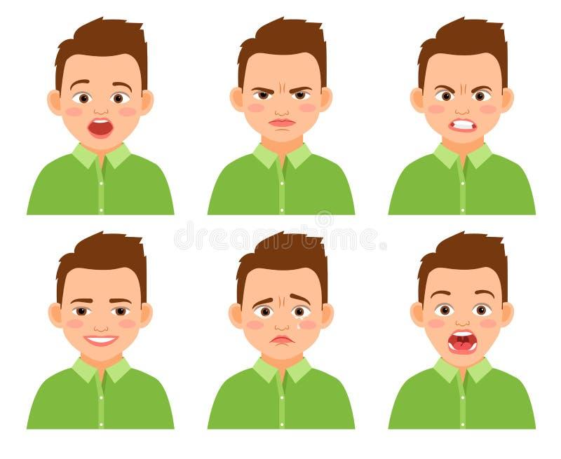 Комплект выражения стороны мальчика бесплатная иллюстрация