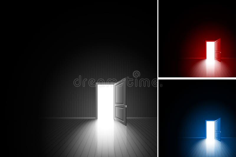 Комплект выхода комнаты света одного двери открытое черный красный голубой бесплатная иллюстрация