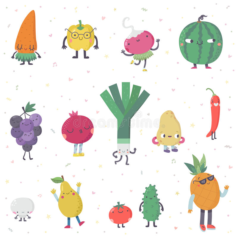 Комплект в реальном маштабе времени вектора фруктов и овощей милого шаржа Часть первая иллюстрация штока