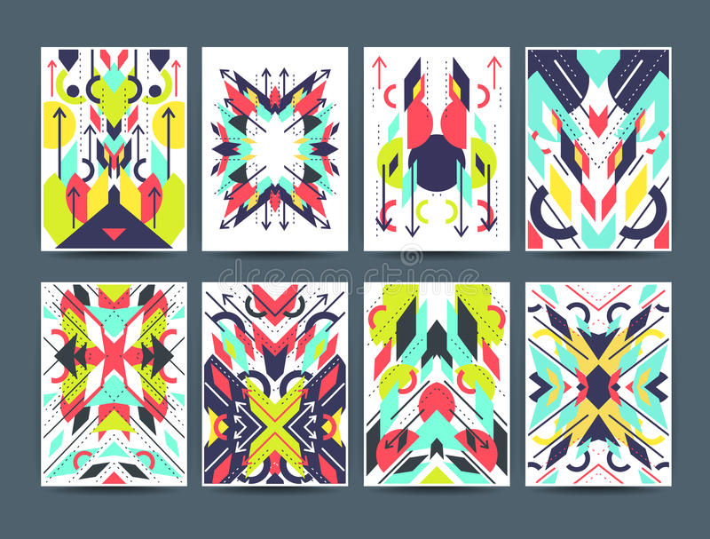 Комплект геометрических абстрактных красочных рогулек иллюстрация вектора