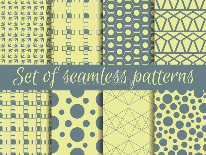 Комплект геометрических безшовных картин Дизайн с кругами и линиями иллюстрация штока