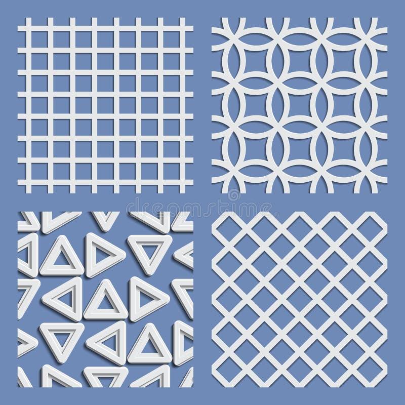 Комплект геометрических безшовных картин иллюстрация штока