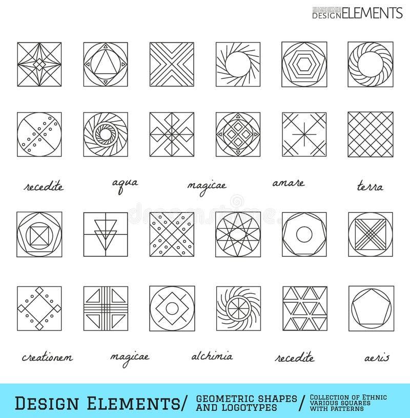 Комплект геометрических форм битника и logotypes65488117 иллюстрация штока