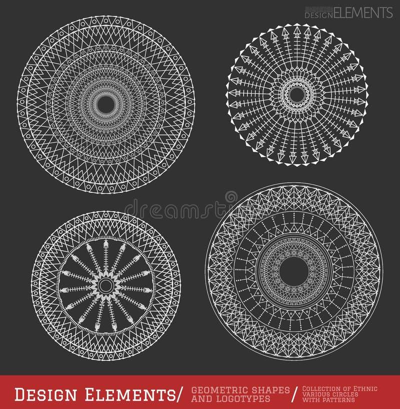 Комплект геометрических форм битника и logotypes6547black иллюстрация вектора
