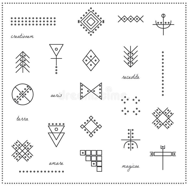 Комплект геометрических форм 9711 битника иллюстрация вектора