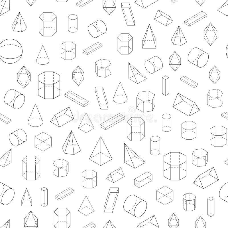 Комплект геометрических форм 3D картина безшовная иллюстрация вектора