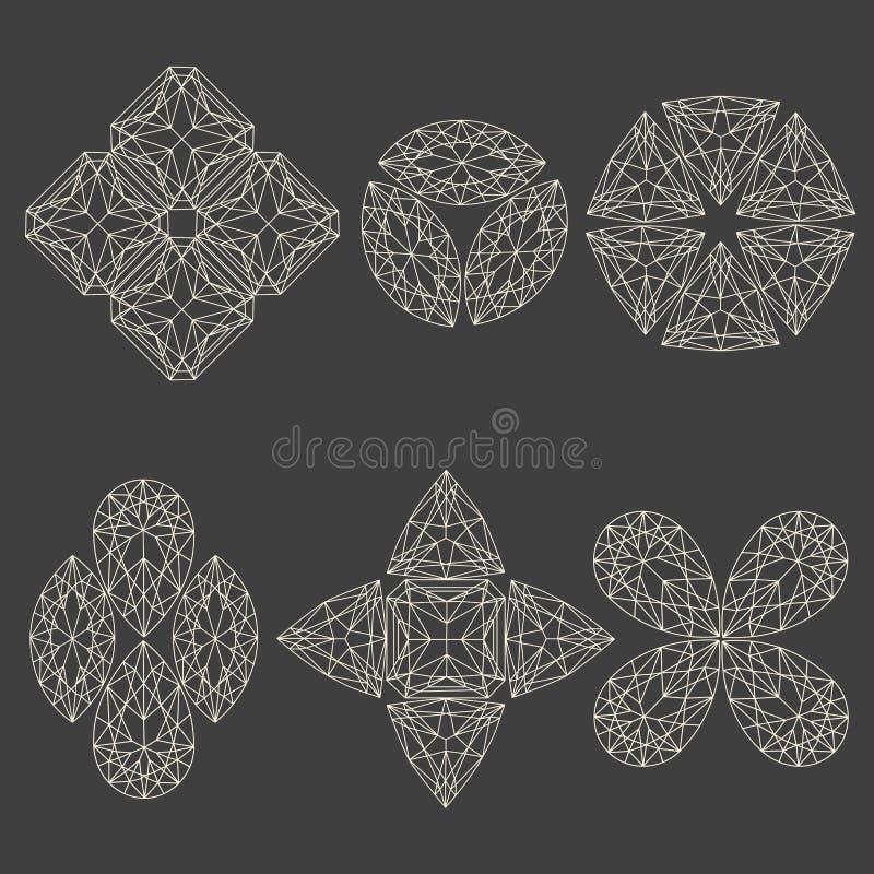 Комплект геометрических эмблем иллюстрация штока
