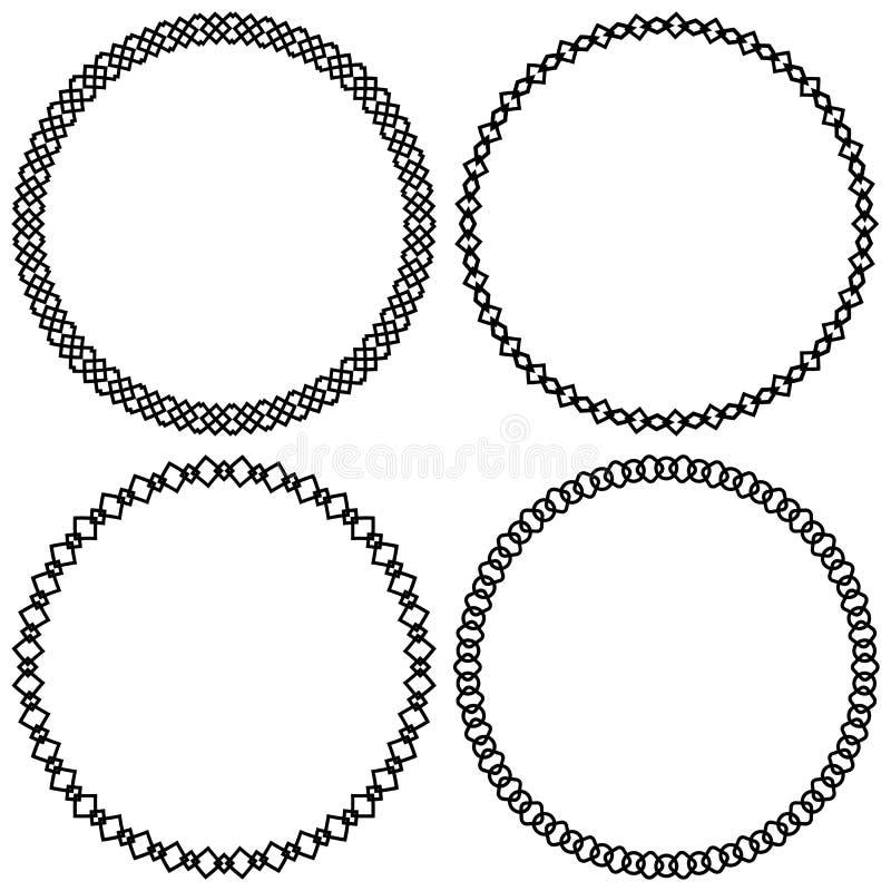 Комплект геометрических элементов круга, рамок абстрактные формы круга иллюстрация штока