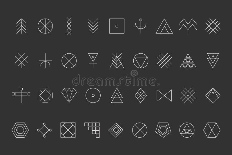 Комплект геометрического битника shapes8 иллюстрация вектора