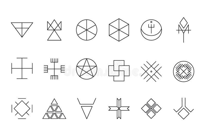 Комплект геометрического битника shapes11 иллюстрация штока
