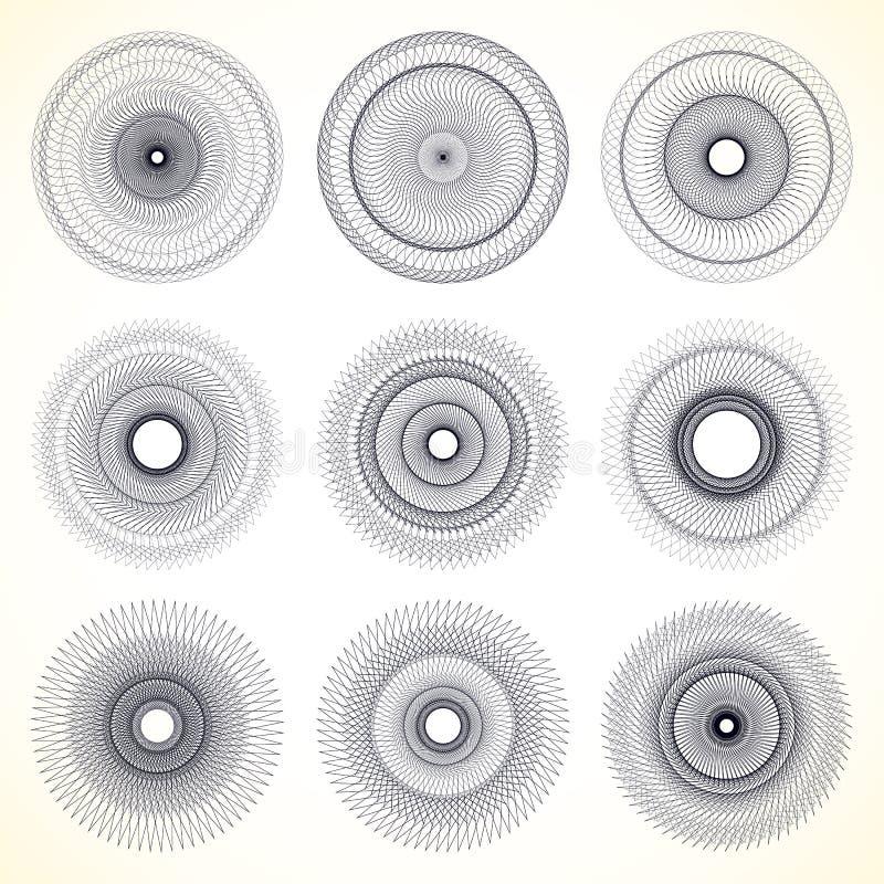 Download Комплект 9 геометрического круга, спиральные элементы Иллюстрация вектора - иллюстрации насчитывающей радиально, циклово: 81805322