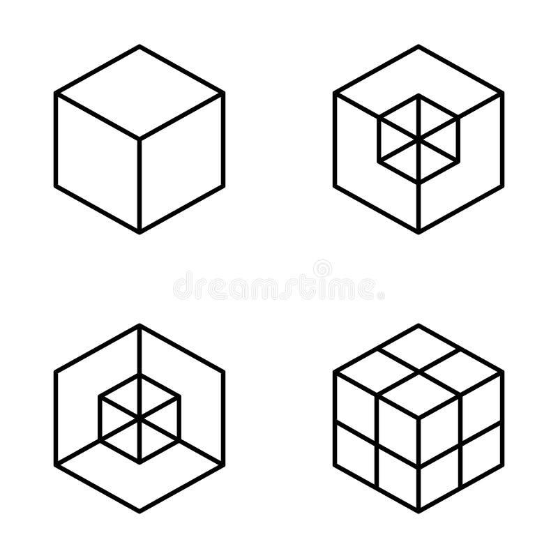 комплект геометрического куба Графический дизайн моды также вектор иллюстрации притяжки corel Конструкция предпосылки Обман зрени бесплатная иллюстрация