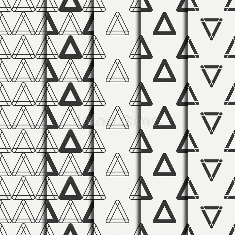 Комплект геометрической линии картины monochrome абстрактного битника безшовной с треугольником оборачивать вектора темы бумаги и иллюстрация штока