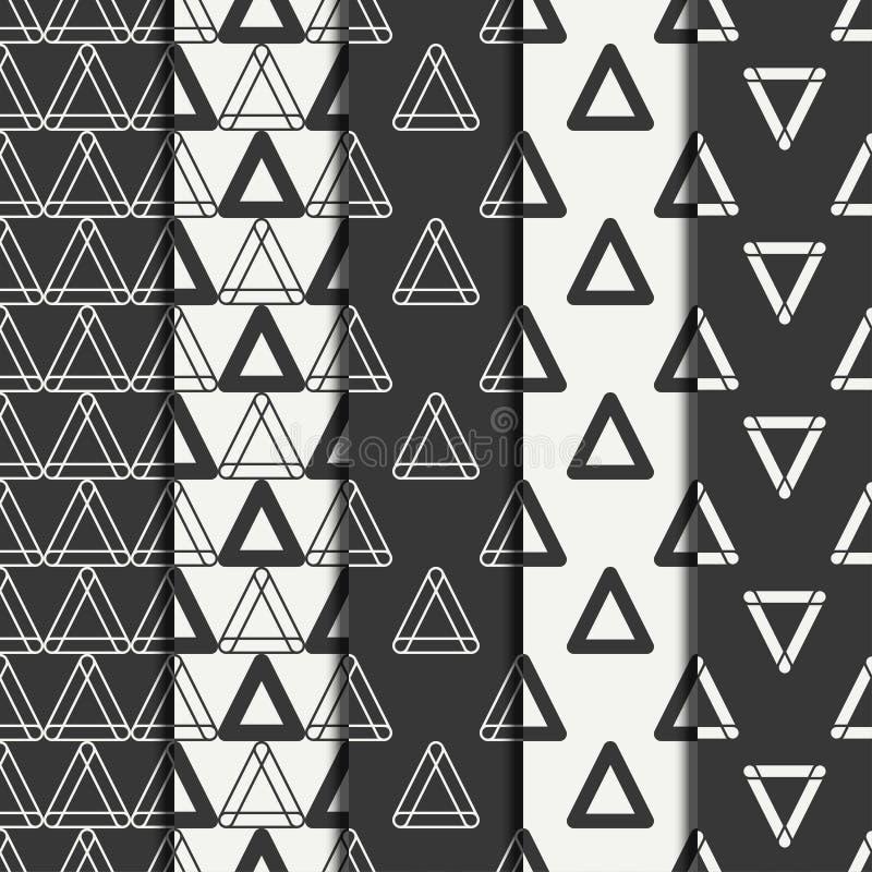 Комплект геометрической линии картины monochrome абстрактного битника безшовной с треугольником иллюстрация штока