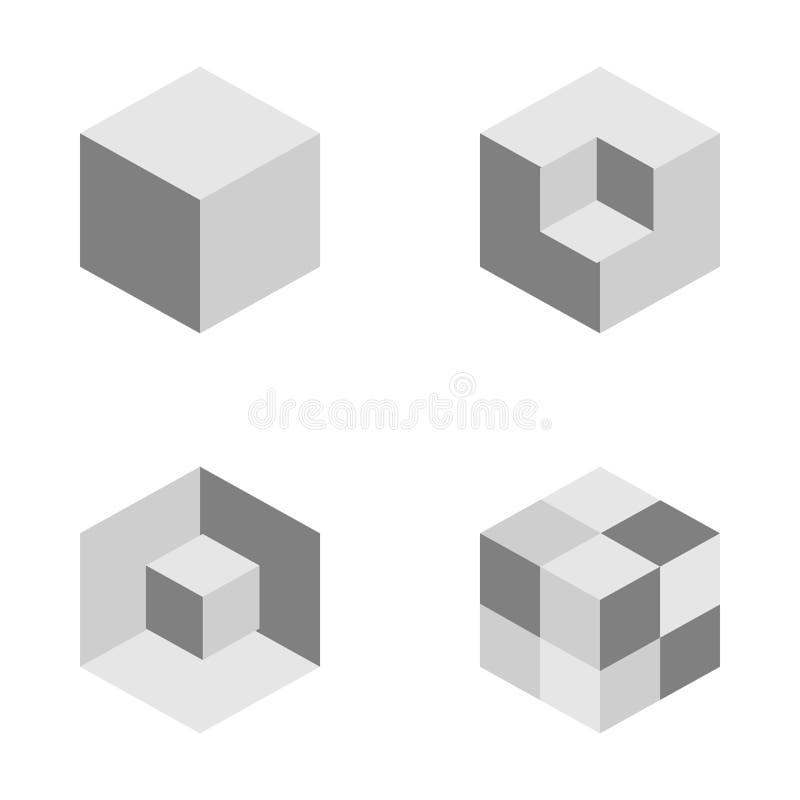 Комплект геометрической картины куба Графический дизайн моды также вектор иллюстрации притяжки corel Конструкция предпосылки Abs  иллюстрация вектора