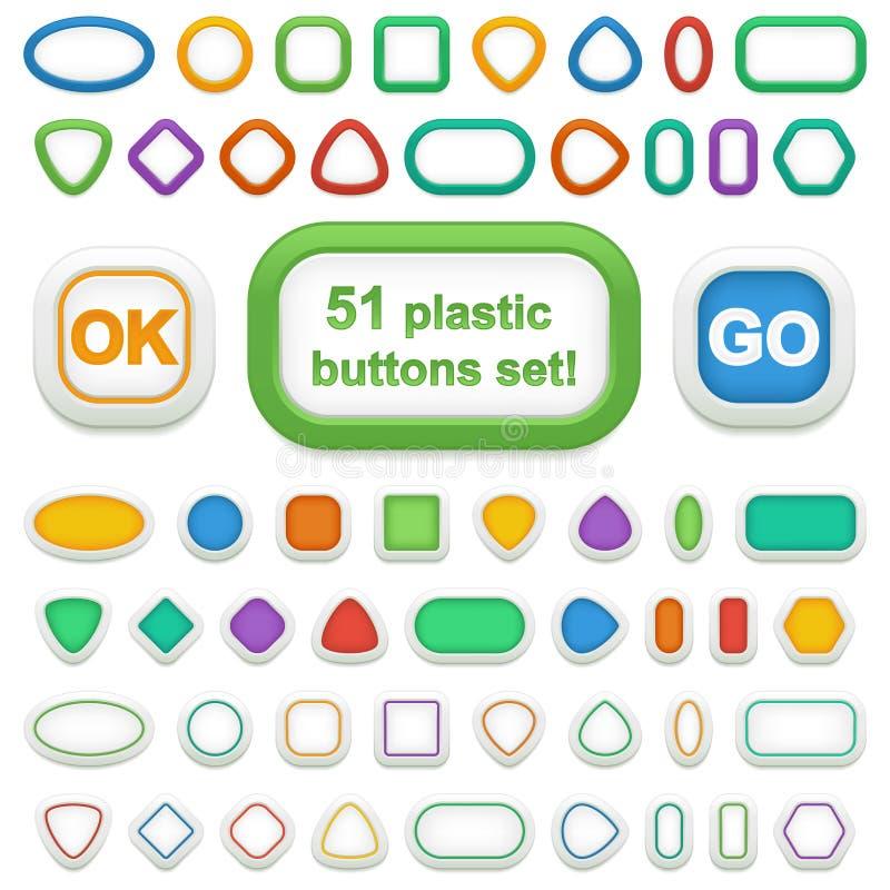 Комплект 51 геометрической кнопки пластмассы 3d стоковое фото rf