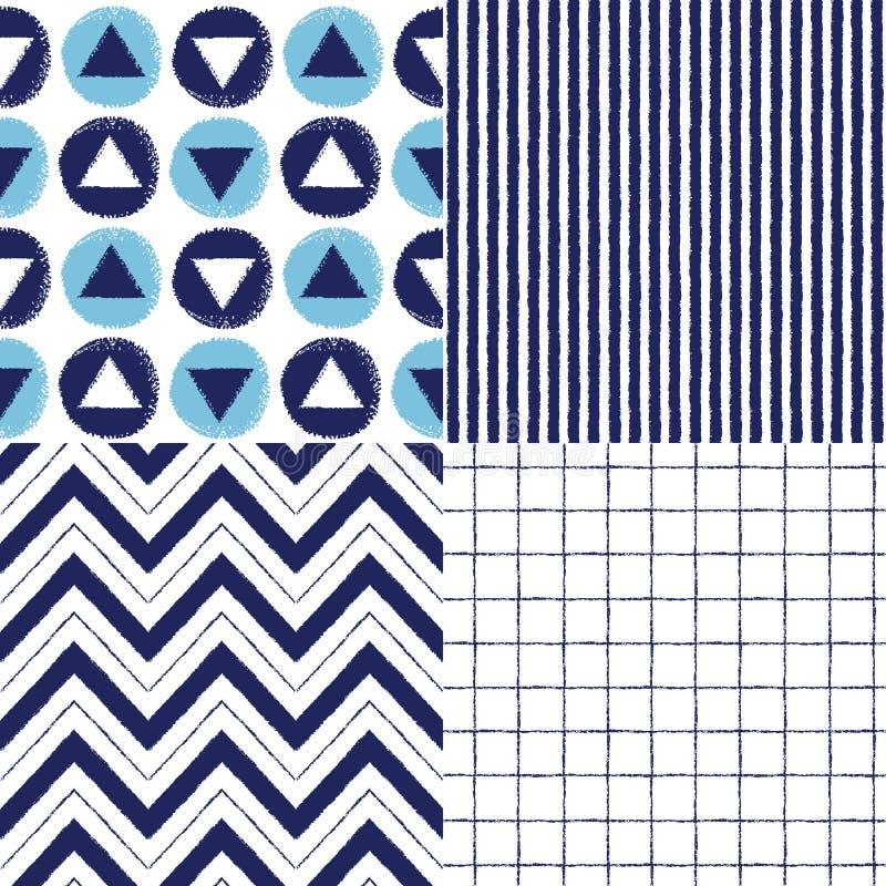 Комплект геометрической нарисованных щеткой картин вектора безшовных иллюстрация штока
