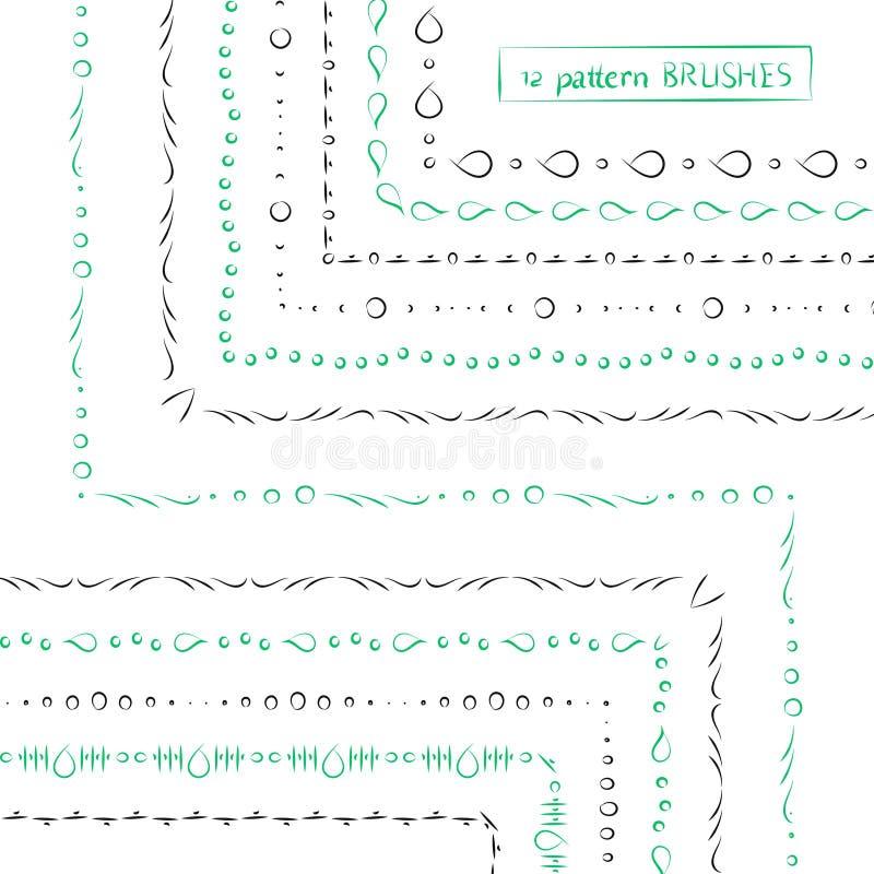 Комплект геометрической этнической зеленой и серой руки нарисованное brushe картины иллюстрация штока