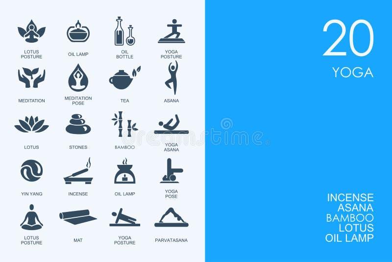Комплект ГОЛУБЫХ значков йоги библиотеки ХОМЯКА иллюстрация вектора