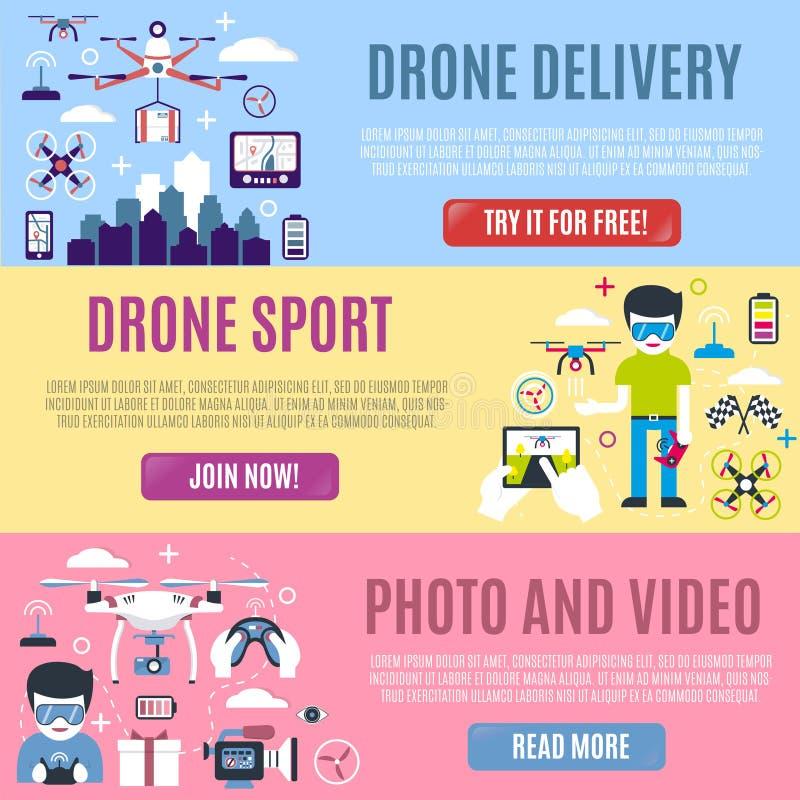 Комплект горизонтального знамени для воздушных поставки, спорта, фото и видео трутня бесплатная иллюстрация