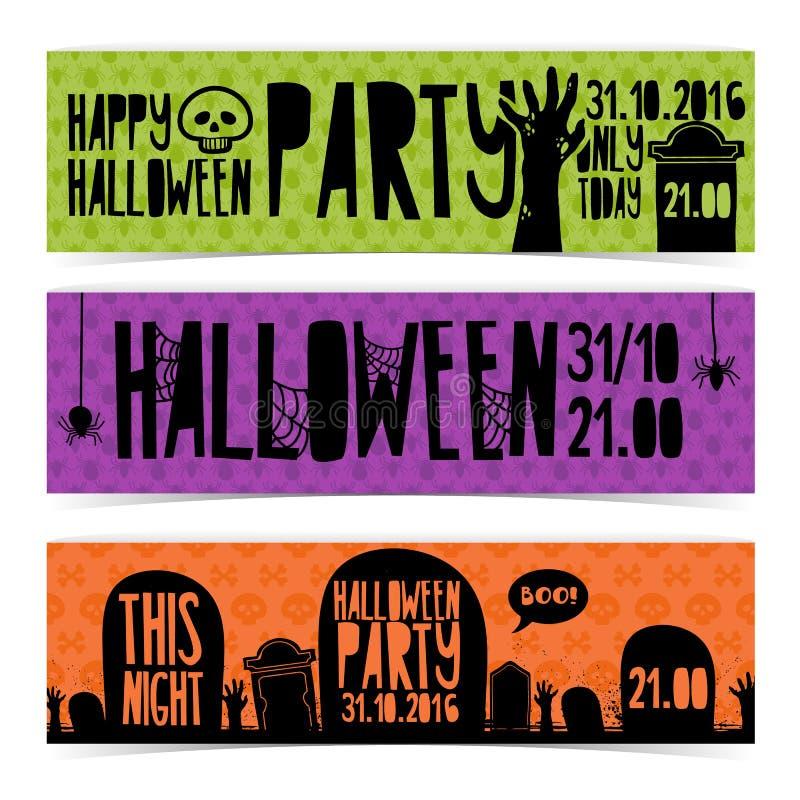 Комплект горизонтальных знамен с счастливой партией хеллоуина Приглашение с руками зомби, кладбищем силуэтов и могильным камнем иллюстрация вектора