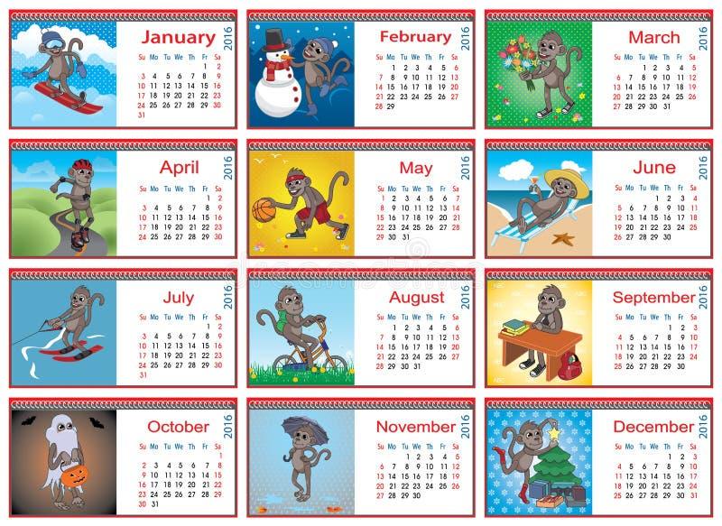 Комплект горизонтальных календарей на каждый месяц в 2016 иллюстрация вектора