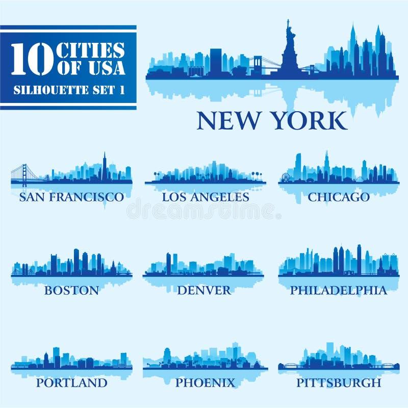 Комплект города силуэта США 1 иллюстрация штока