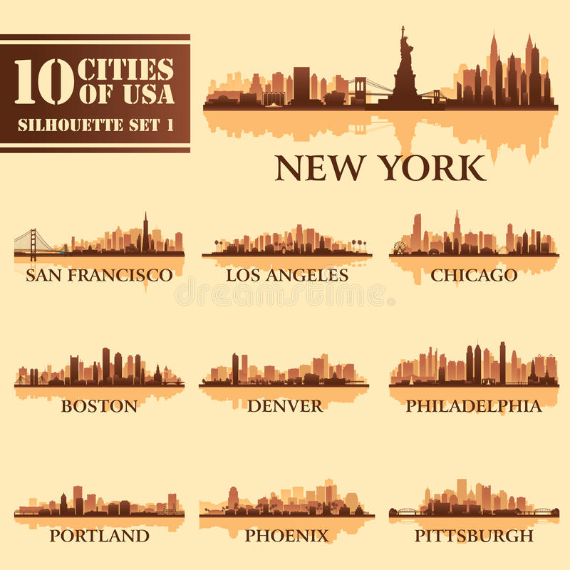 Комплект города силуэта США 1 иллюстрация вектора