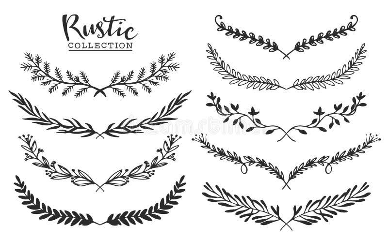 Комплект года сбора винограда лавров нарисованных рукой деревенских Флористическая векторная графика бесплатная иллюстрация