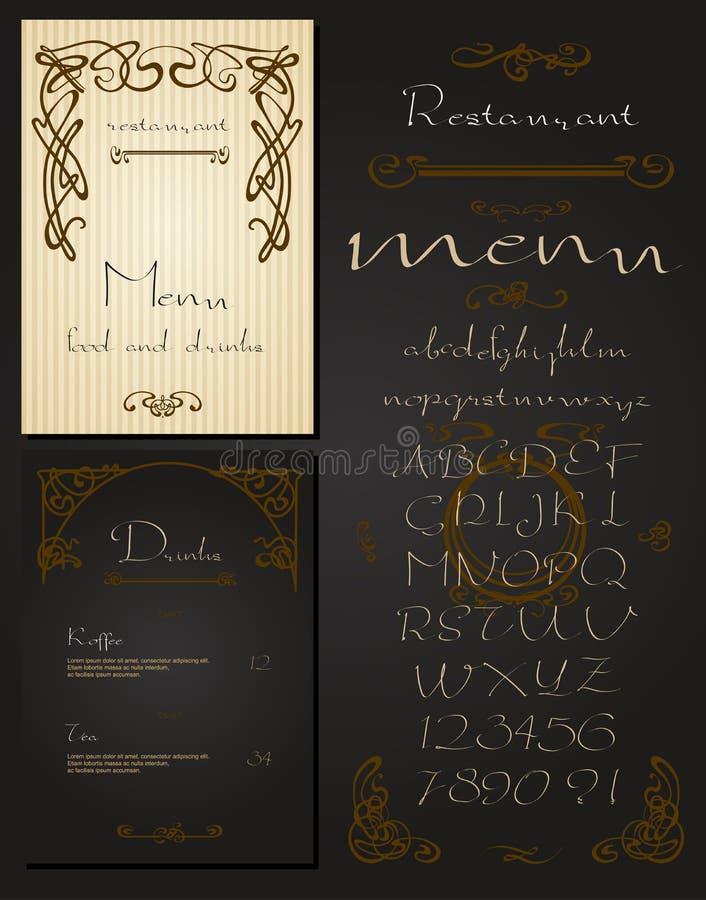 Комплект года сбора винограда ввел меню в моду ресторана иллюстрация штока