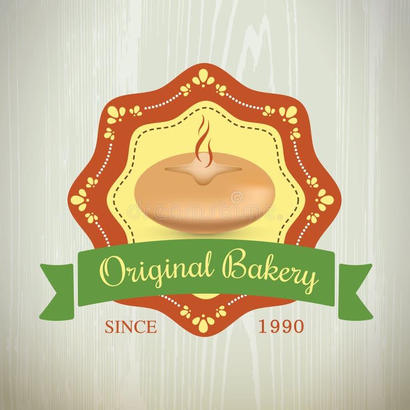 Комплект года сбора винограда логотипов хлебопекарни первоначально ретро стоковые изображения