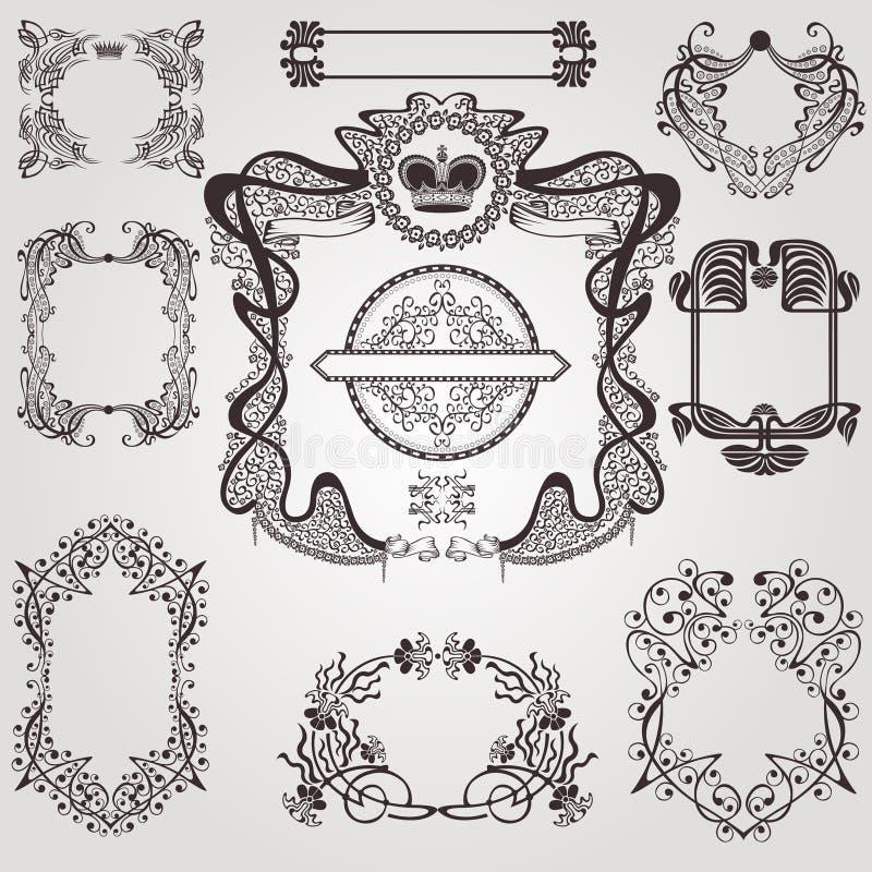 Комплект года сбора винограда элемента знамени ярлыка старого nouveau искусства установленный иллюстрация штока