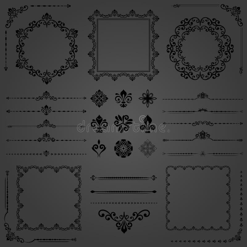 Комплект года сбора винограда элементов вектора горизонтальных, квадратных и круглых иллюстрация вектора