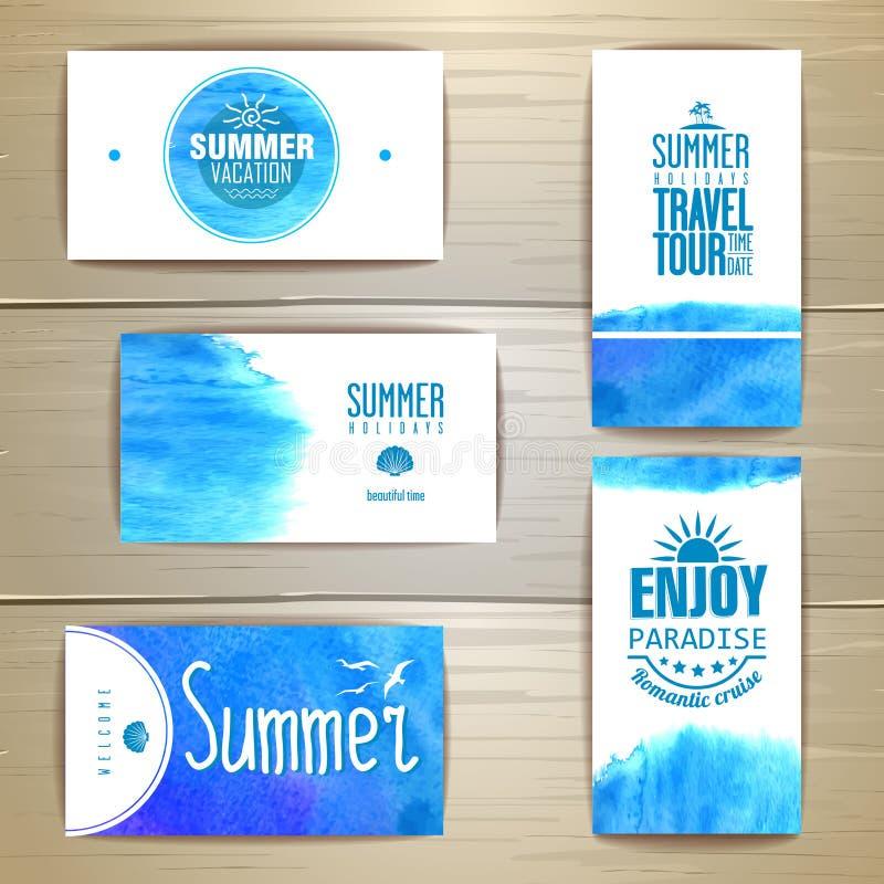 Комплект голубой карточки посещения лета акварели иллюстрация вектора