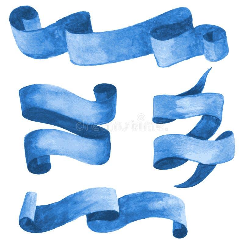 Комплект голубых лент и знамен акварели также вектор иллюстрации притяжки corel бесплатная иллюстрация