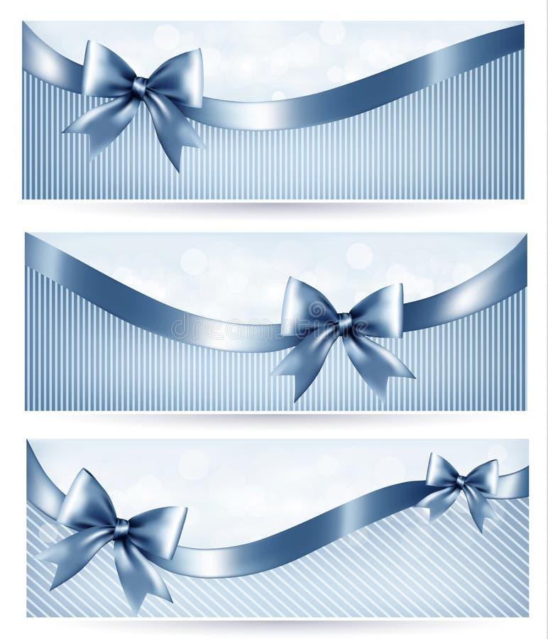 Комплект голубых знамен праздника с смычком подарка лоснистым иллюстрация штока