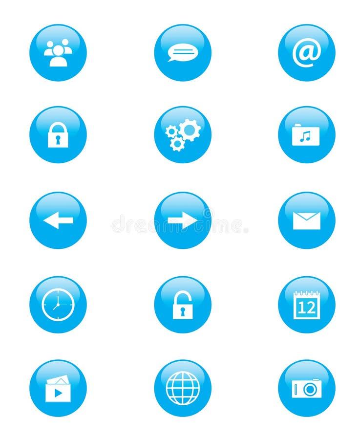 Комплект голубых и белых круговых кнопок для применений или сети мобильного телефона бесплатная иллюстрация