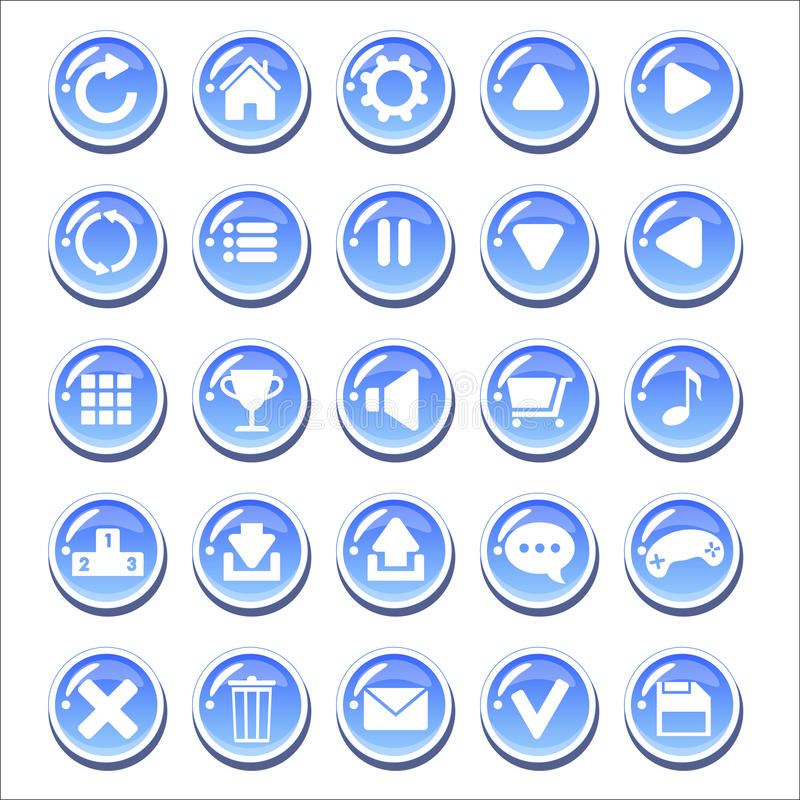 Комплект голубых стекловидных кнопок для игры взаимодействует стоковая фотография rf