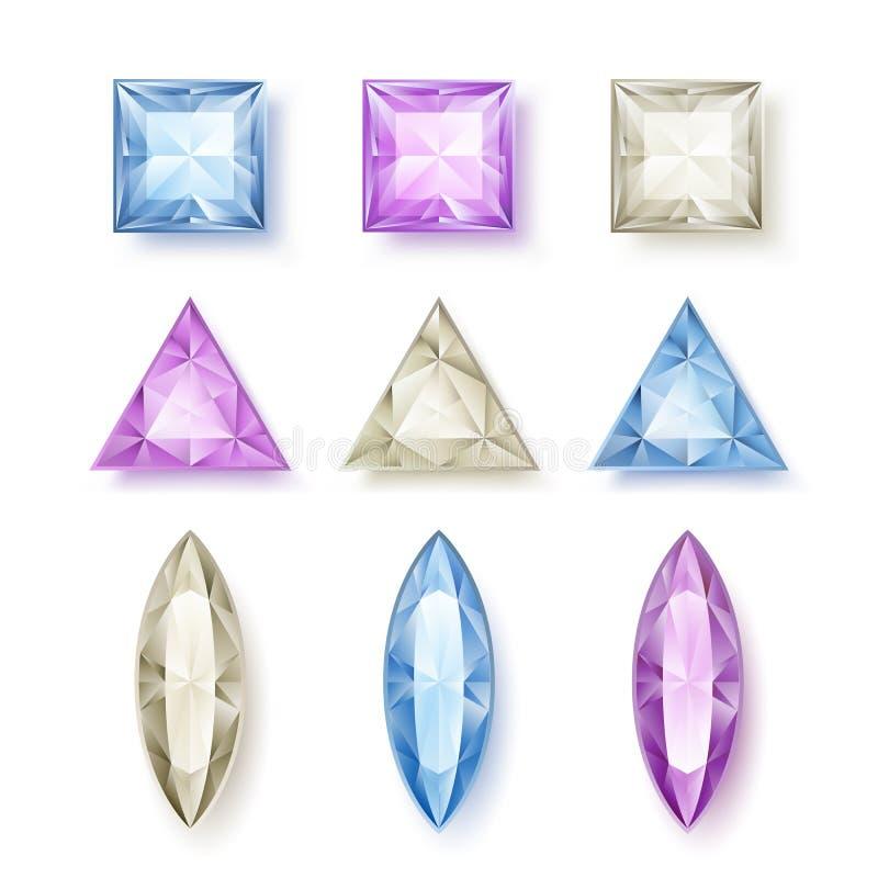 Комплект граненных диамантов иллюстрация вектора