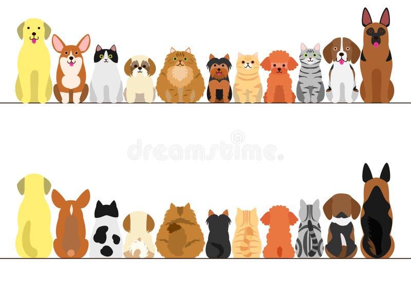 Комплект границы котов и собак иллюстрация вектора