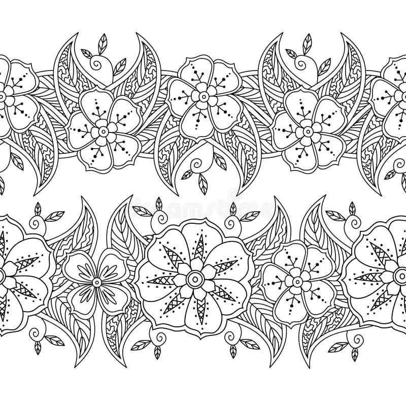 Комплект 2 границ безшовной картины флористических на белой предпосылке иллюстрация штока