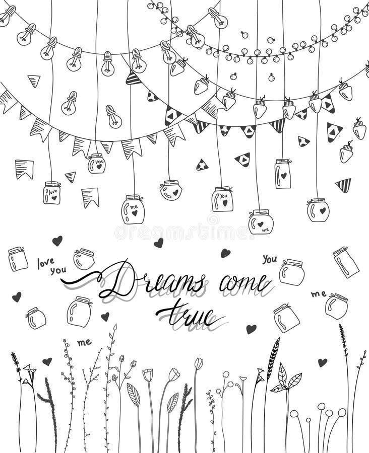 Комплект границ, гирлянд, опарников и цветков нарисованных рукой бесплатная иллюстрация