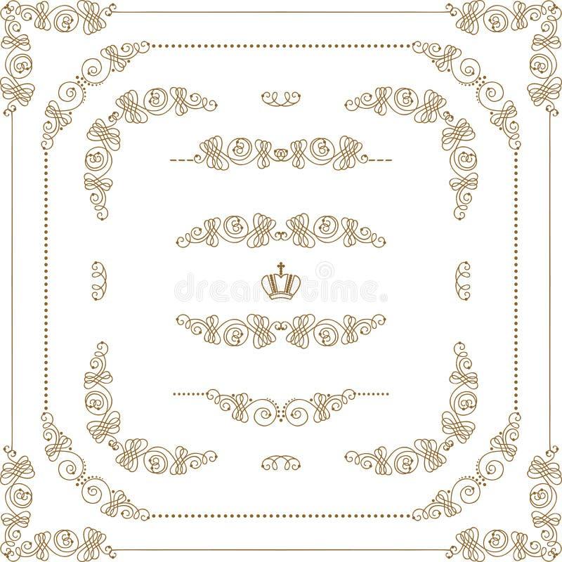 Комплект границ золота декоративных, рамка вектора иллюстрация штока