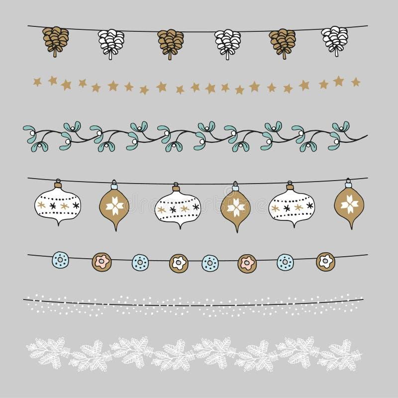 Комплект границ рождества, строк, гирлянд, щеток Украшение с конусами сосны, омела Praty, шарики рождества, безделушки иллюстрация вектора